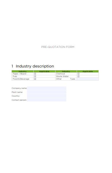 quotation description form