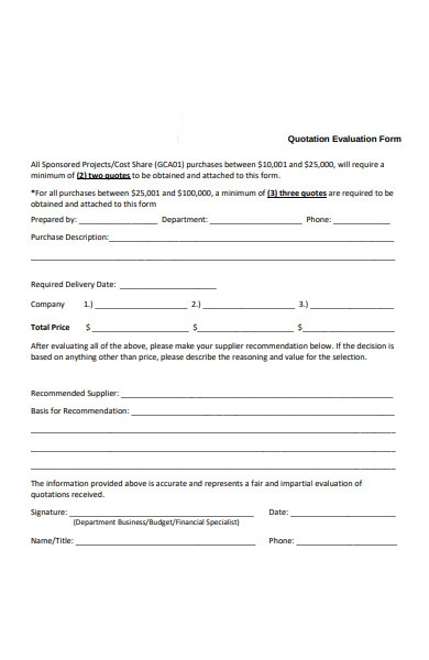 quotation evaluation forms