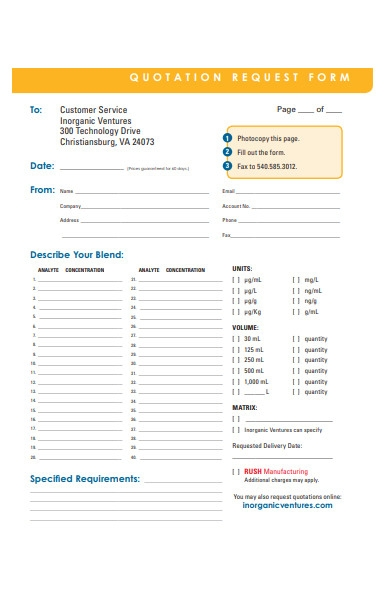 quotation form sample