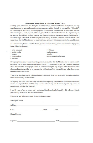 quotation release form