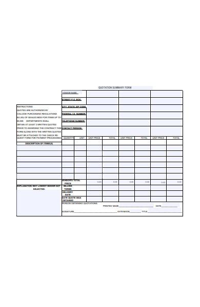 quotation summary form
