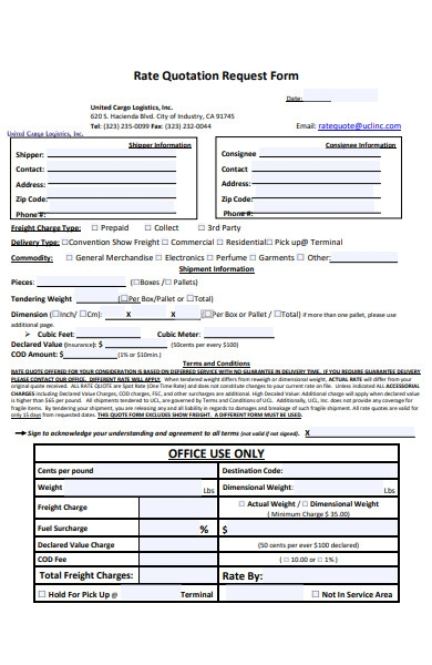 rate quotation form