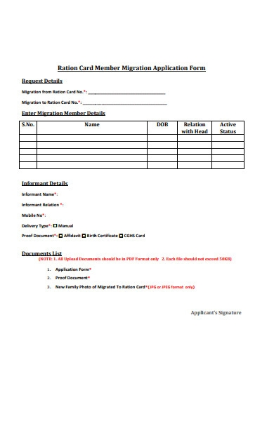 ration card member migration form