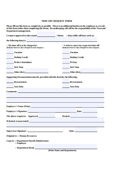 record keeping time off request form