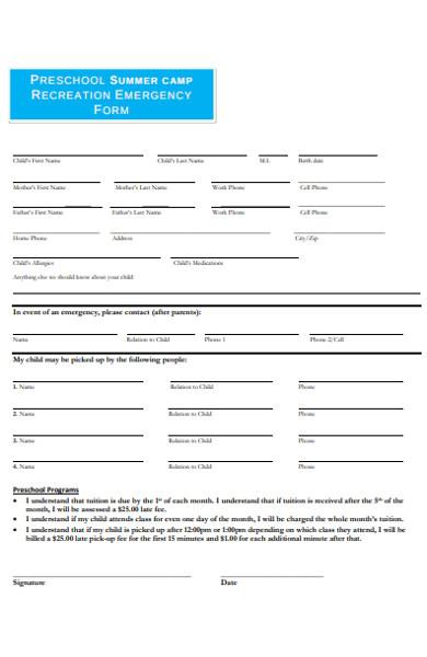 recreation emergency form