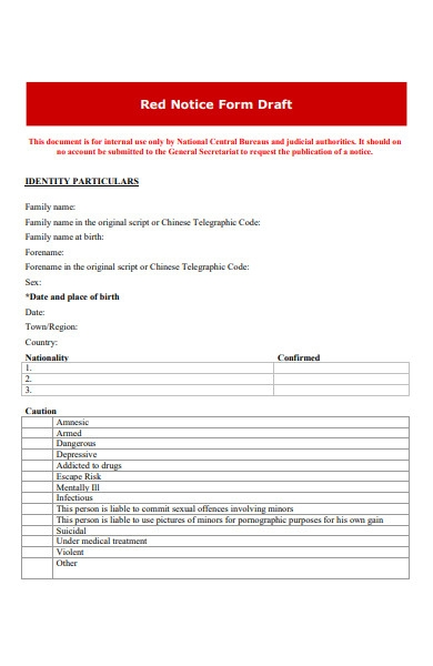 red notice form