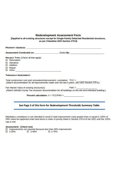 redevelopment assessment form