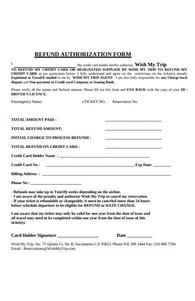 refund authorization form