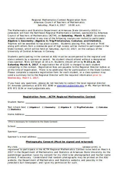 regional mathematics contest registration form