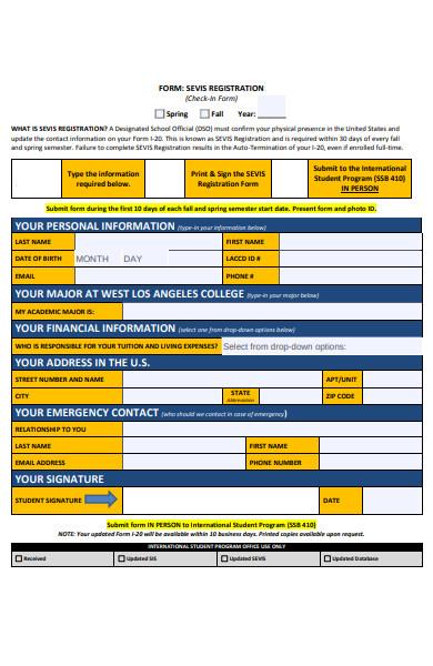 registration check in form