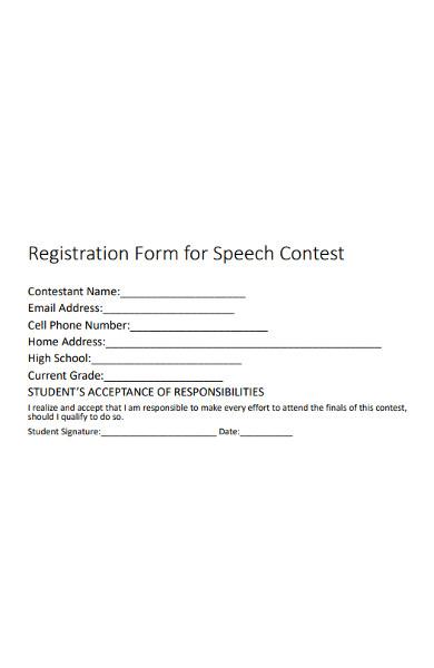 registration form for speech contest
