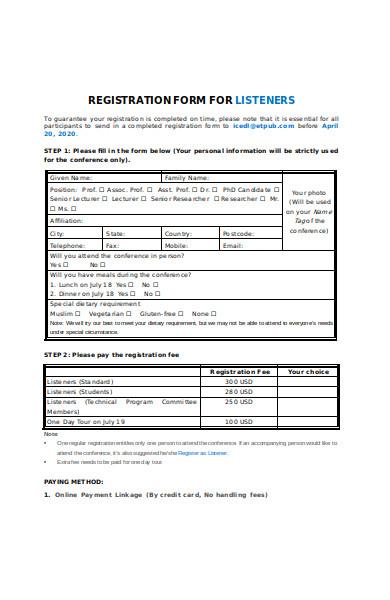 registration information form