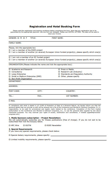 registration and hotel booking form