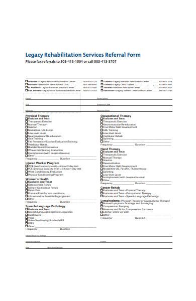 rehabilitation service therapy form