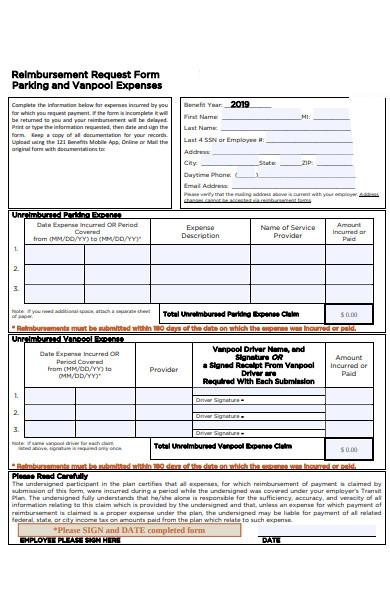 reimbursement parking expense form