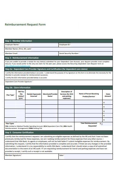 reimbursement request form
