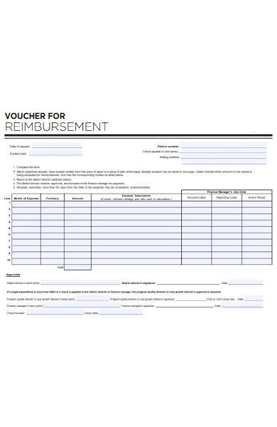 reimbursement voucher form