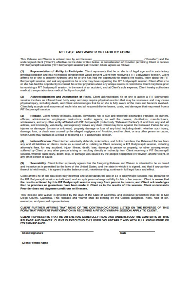 release and waiver of liability form sample