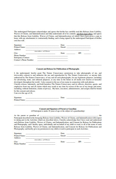 release from liability form