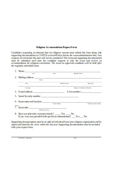 religious accommodation request form