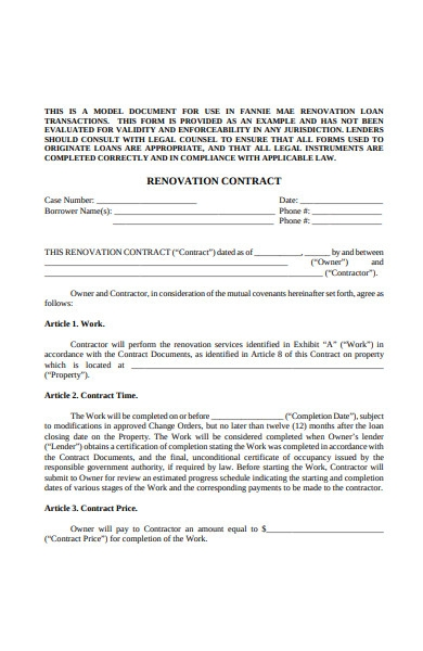 renovation contract form