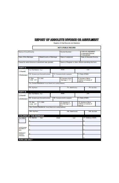 report of absolute divorce form