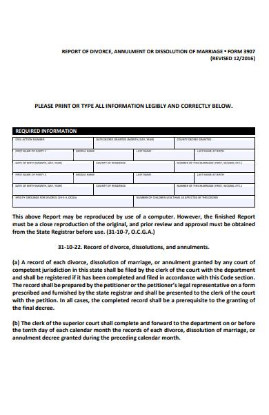 report of divorce form in pdf