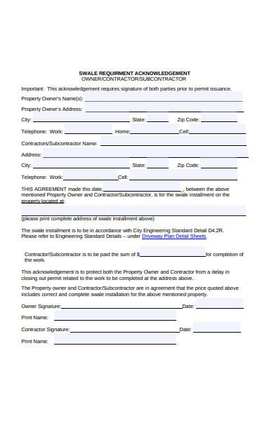 requirement acknowledgement form