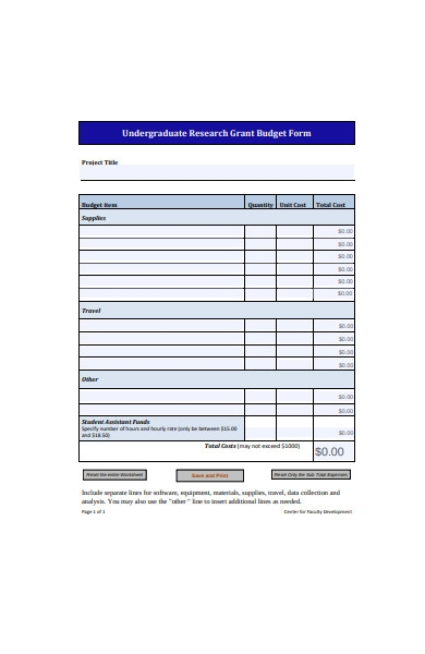 research grant budget form