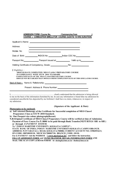 research institution admission form