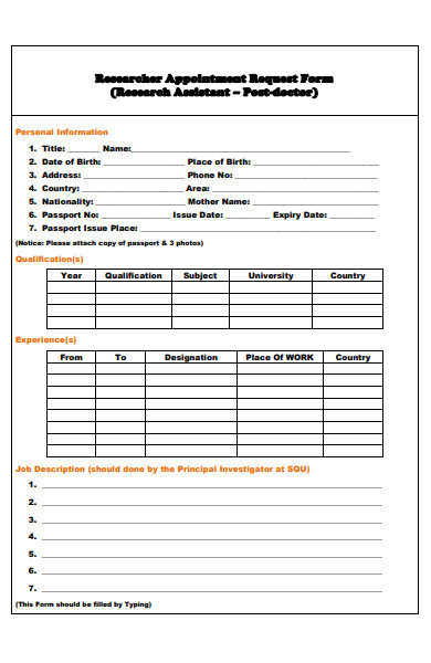 researcher appointment request form