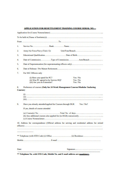 resettlement training course application form