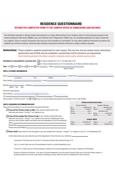 residence questionnaire form