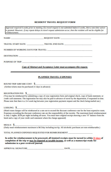 resident travel request form