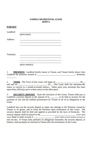 residential lease form
