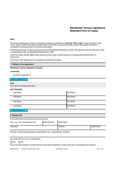 residential tenancy agreement form in pdf