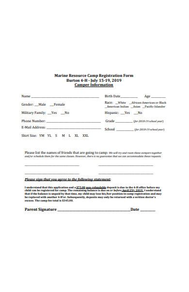 resource camp registration form