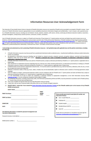 resources user acknowledgement form