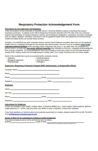 respiratory protection acknowledgement form