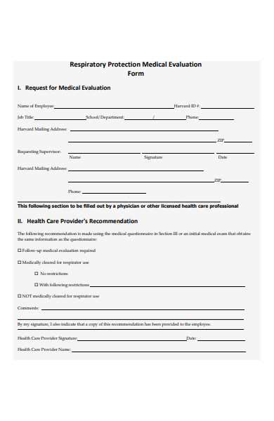 respiratory protection medical evaluation form