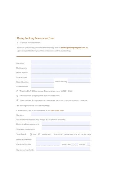 restaurant booking reservation form