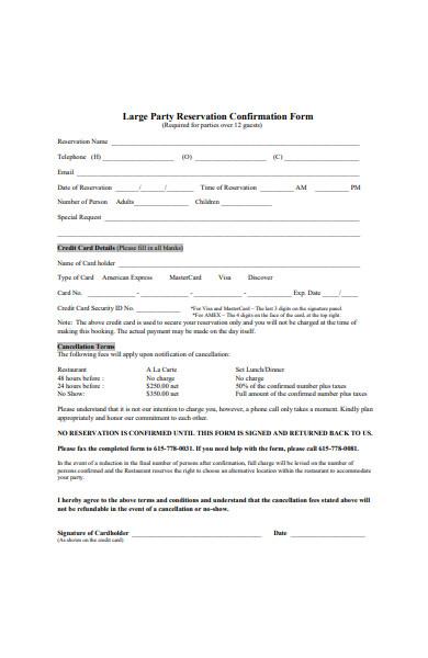 restaurant large party reservation confirmation form