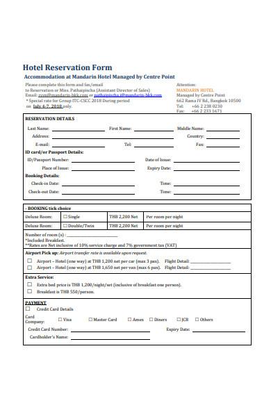 restaurant reservation form template