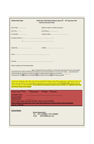 restaurant reservation form in pdf