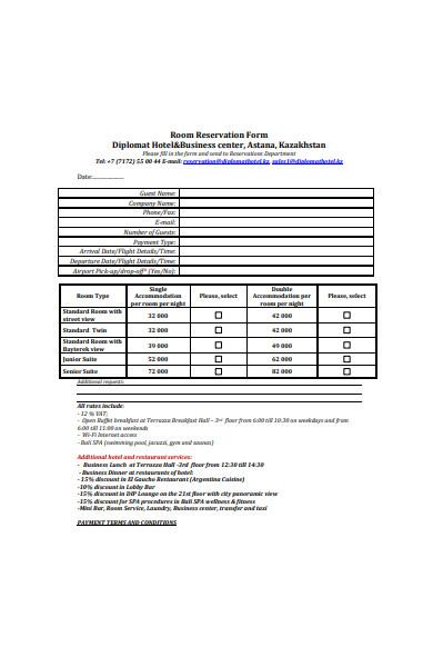restaurant room reservation form in pdf