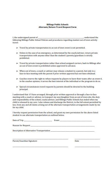 return travel request form
