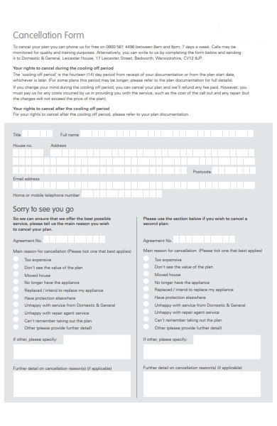 right cancellation form