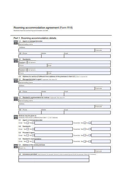 rooming accommodation agreement form