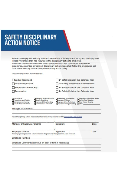 safety disciplinary action form