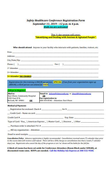 safety healthcare conference registration form